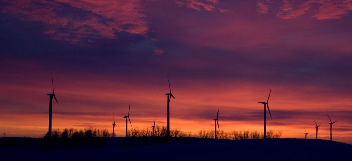 Wind turbines and a sunset