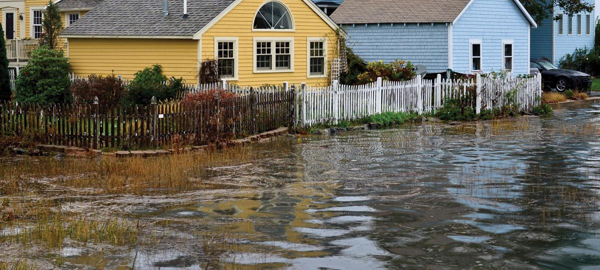 Flooded neighborhood in Portsmouth, New Hampshire