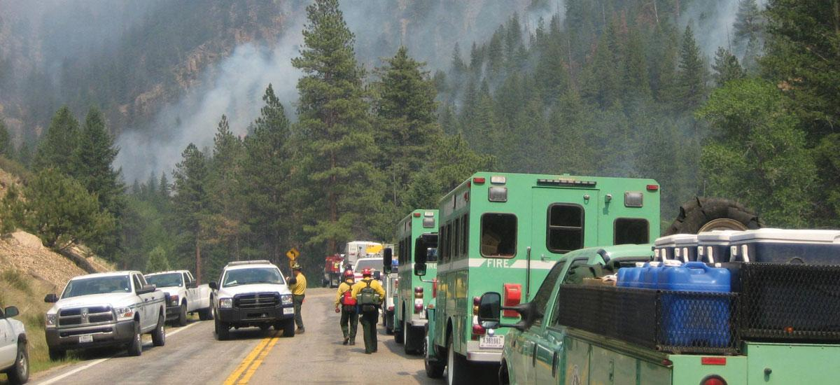 forest service trucks by smoke