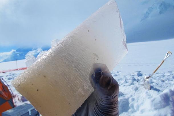 An ice core.