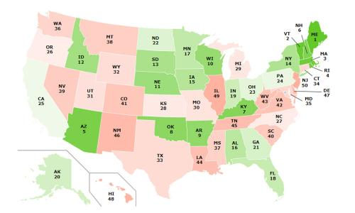 Map showing state rankings from food scorecard feature
