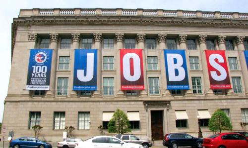 Banners spelling J-O-B-S hung by American Enterprise Institute