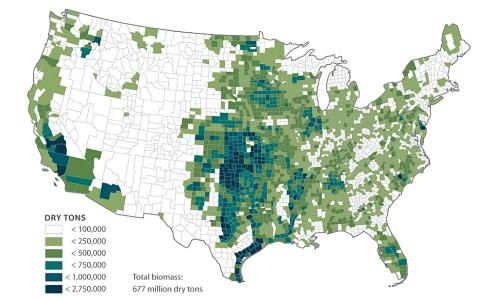 Map showing tonnage of biomass by US county