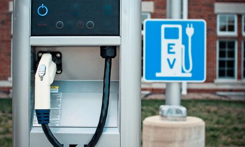 Electric vehicle charging station on Indiana University campus