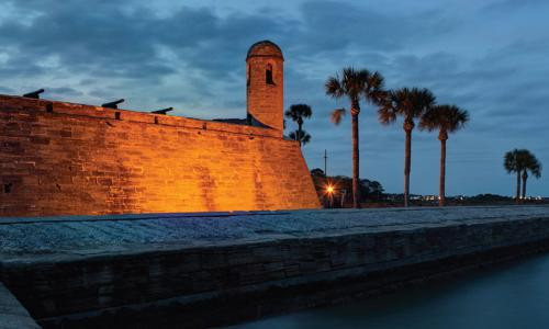 Castillo de San Marcos in St Augustine Florida at twilight
