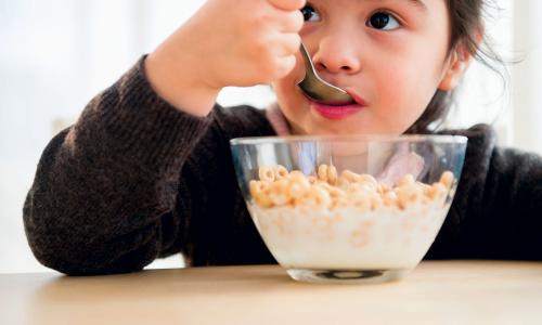 Child eating a bowl of Cheerios