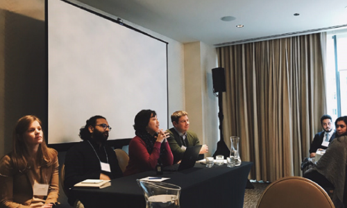 Panelists at a 2019 convening on equitable energy storage policy