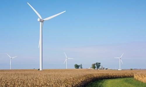 Wind turbines in a farm field