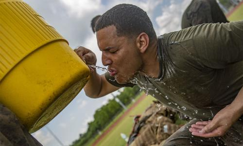 thirsty solider drinking water