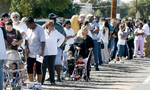 People waiting in a long line to vote in Arizona