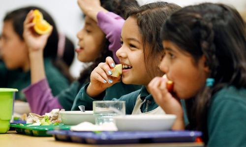 School children eating fruit in a cafeteria
