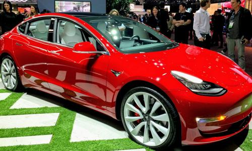 red Tesla EV at 2019 LA Auto Show