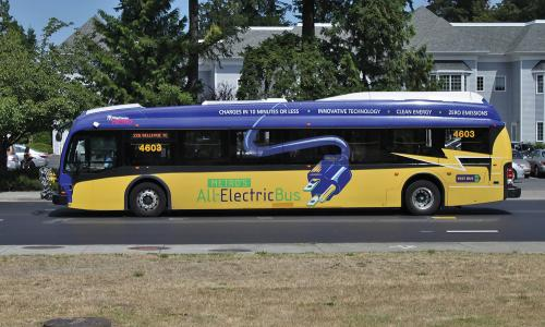 Proterra electric transit bus in Bellevue, Washington