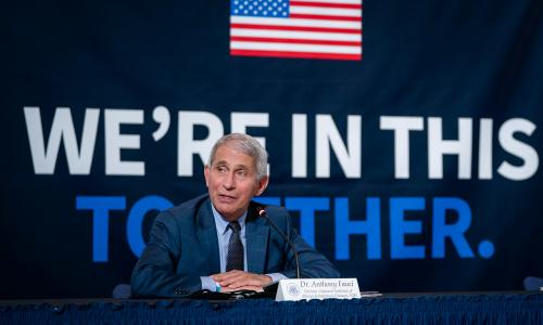 Dr. Fauci at a press conference