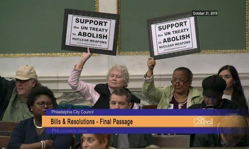 Philadelphia City Council passes a Back from the Brink resolution to abolish nuclear weapons