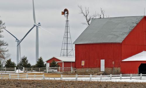 wind turbines and red barn in illinois