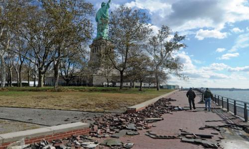 hurricane sandy damage at statue of liberty